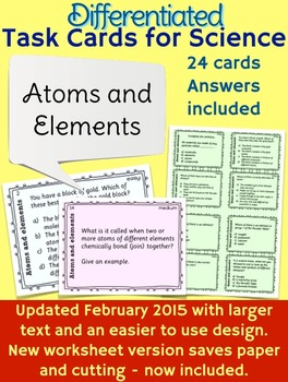 Atoms and Elements Task Cards