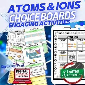 Atoms and Ions Activities, Choice Board, Print & Digital, Google