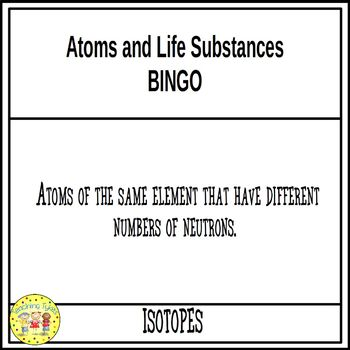 Atoms and Life Substances BINGO