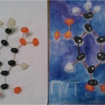 Atoms and Molecules- Building Models (science) and Wax Resist (art) lesson