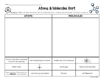 Atoms and Molecules Sorting Worksheet