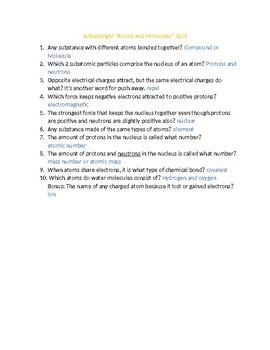"""Physical Science in Action """"Atoms and Molecules"""" Video Worksheet/Quiz Answer Key"""