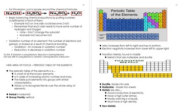 Atoms and Periodic Table Unit Notes, Curriculum and Standards