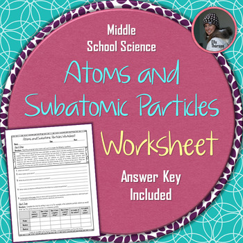 Atoms and Subatomic Particles Worksheet