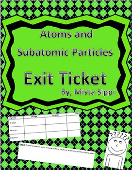 Atoms and Subatomic Particles Exit Ticket Assessment