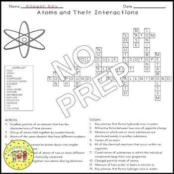 Atoms and Their Interactions Biology Science Crossword Coloring Middle School