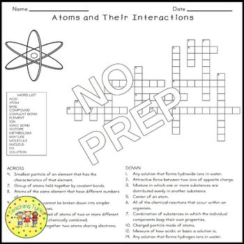 Atoms and Their Interactions Crossword Puzzle