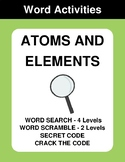 Atoms and elements - Word Search, Word Scramble,  Secret C