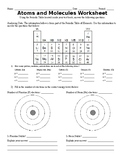 Atoms and molecules (Science) Editable assessment/test/ home wok in FREE