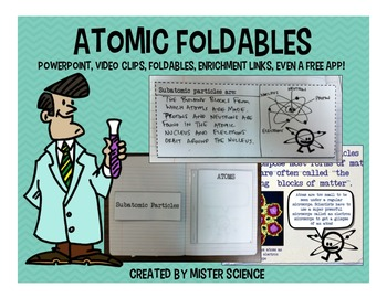 Atoms atomic structure PWPT foldable Interactive Notebook 4 5 6 7 8th jr high