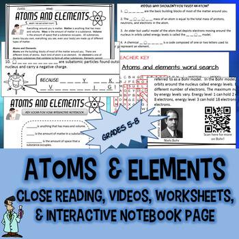 Atoms elements subatomic particles INB QR TX TEKS 6.5A C 8.3B D 8.5A B STAAR