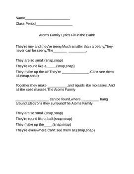 Atom's family song fill in the blank lyrics