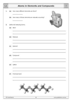 Atoms in Elements and Compounds [Worksheet]