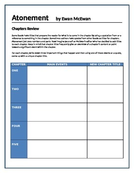 Atonement - Chapters review activity