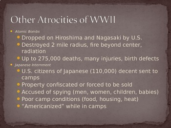 Atrocities of WWII PowerPoint Lecture Notes & Internet Research Activity