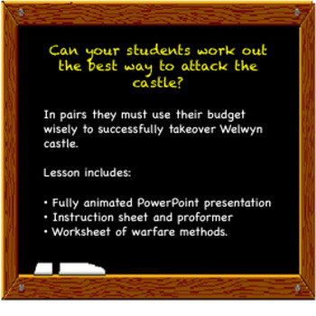 Attack a castle in the Middle Ages powerpoint and worksheet lesson