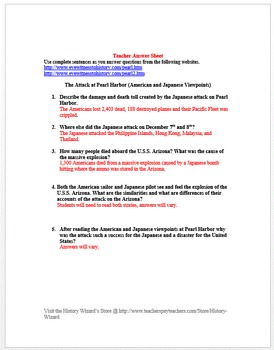 Attack at Pearl Harbor (American and Japanese Viewpoints Worksheet)