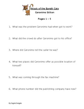 Attack of the Bandit Cats by Geronimo Stilton Reading Comprehension Questions