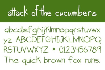 Attack of the Cucumbers Font for Commercial Use