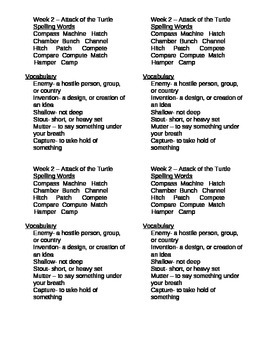 """""""Attack of the Turtle"""" novel study Spelling and Vocabulary list week 2"""