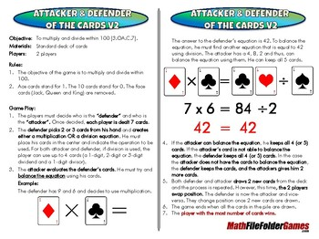 Attacker & Defender of the Cards v2 - 3rd Grade Math Game [CCSS 3.OA.C.7]