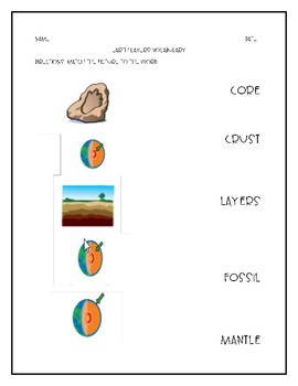 Attainment Science Earth Layers Vocabulary