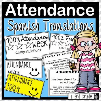 Attendance Absences Spanish English Slips