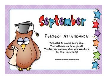 Attendance Award - September
