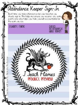 Attendance Binder with Game of Throne Inspired Illustration and Free Updates