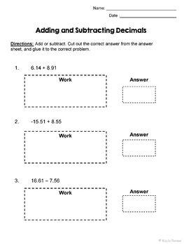 adding subtracting decimals engaging cut and glue activity 7 ns 1 6 ns b 3. Black Bedroom Furniture Sets. Home Design Ideas