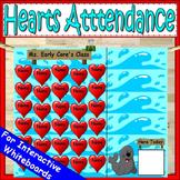 Hearts Attendance for Smartboard | Attendance Sheet Editable Attendance Chart