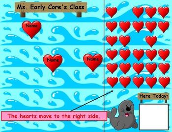 Hearts Attendance for Smartboard   Attendance Sheet Editable Attendance Chart