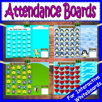 Attendance for Smartboard | Attendance Sheet Editable Attendance Chart Bundle