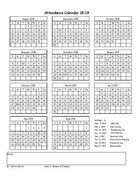 Attendance Calendar 2017-2018