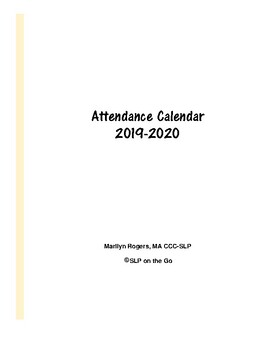 Ccc Calendar 2020 Speech Therapy Attendance Calendar 2019 2020 by SLP on the Go | TpT