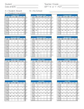 Attendance Calendar Sheet 2019 2020 - Generic - General Education