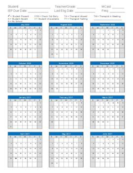Attendance Calendar Sheet Form 2020   2021 Speech Therapy by The