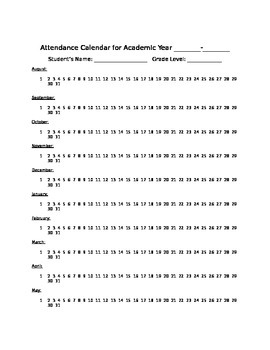 Attendance Calendar for Acedemic Year