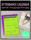 Attendance Calendar for Speech-Language Therapy 2020-2021