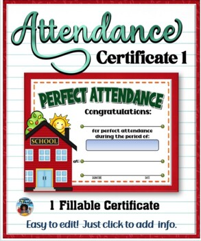 Attendance Certificate 1 {Fillable}