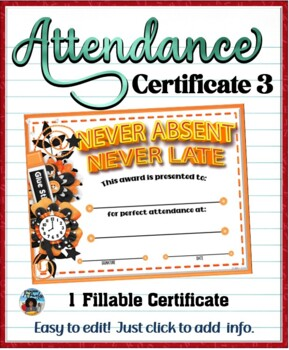 Attendance Certificate 3 {Fillable} by DP Sharpe | TpT