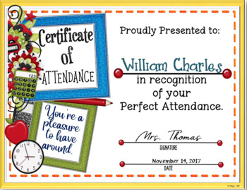 Attendance Certificate 4 {Fillable}