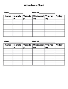 Attendance Chart- Any Grade- Up to 7 Students