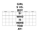 Attendance Chart: Girls vs Boys (using tally marks)