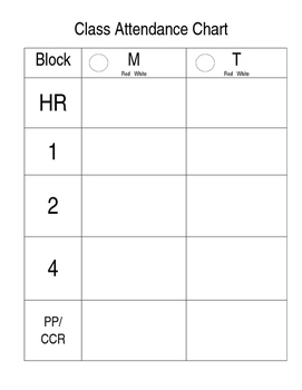 Attendance Chart for Binder, Editable Chart for Managing Absences, Plan Book