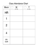 Attendance Chart for Binder, Editable Chart for Managing A