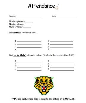 Attendance Form for Substitutes