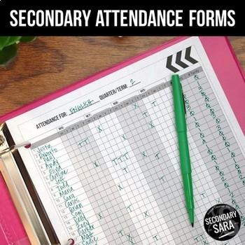 Attendance Forms for Secondary Teachers {Editable}
