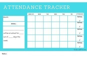 Monthly Attendance Goal Tracker for Students/Teachers
