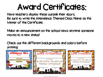Attendance Hero Editable Award Certificates